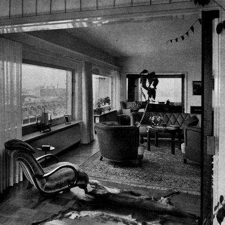 Vardagsrummet i E S Perssons våning i Ribershus