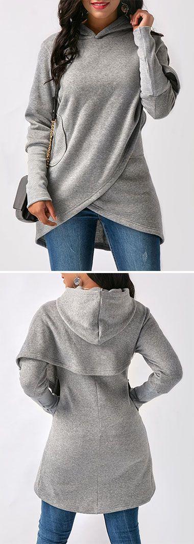 Grey Asymmetric Hem Long Sleeve Hoodie.
