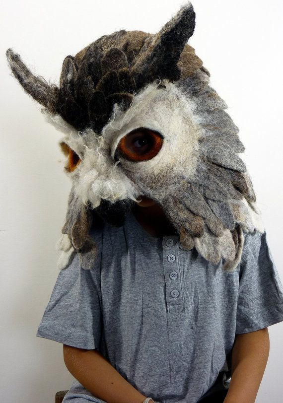 Don't forget to bring an owl!  Hand felted Owl animal mask / head dress suitable by gladyspaulus, $665.00