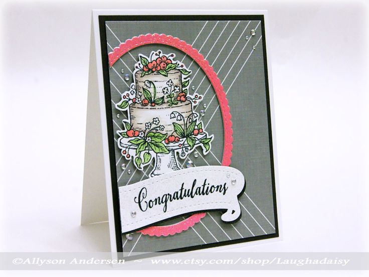 Power Poppy Stamps cake image, hand colored with Copic markers.  Papertrey Ink sentiment, banner die, black cardstock, and designer paper.  My Favorite Things scallop oval die.