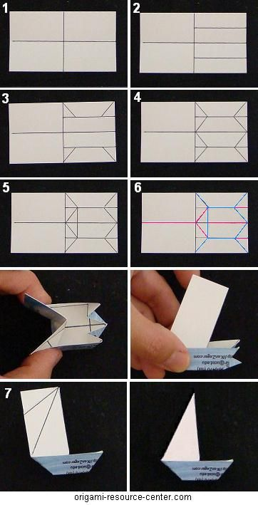origami boat business cards- diagram for back of regular sized card