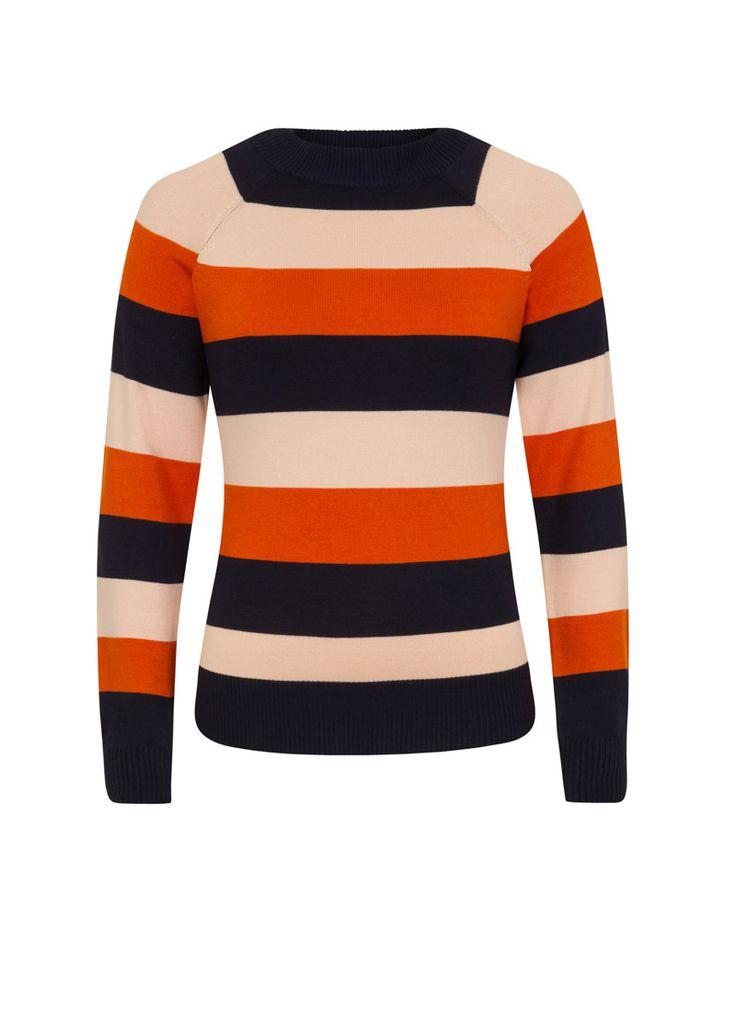 Agatha Bold Stripe Jumper | '70s-inspired High Neck Striped Knit | Joanie