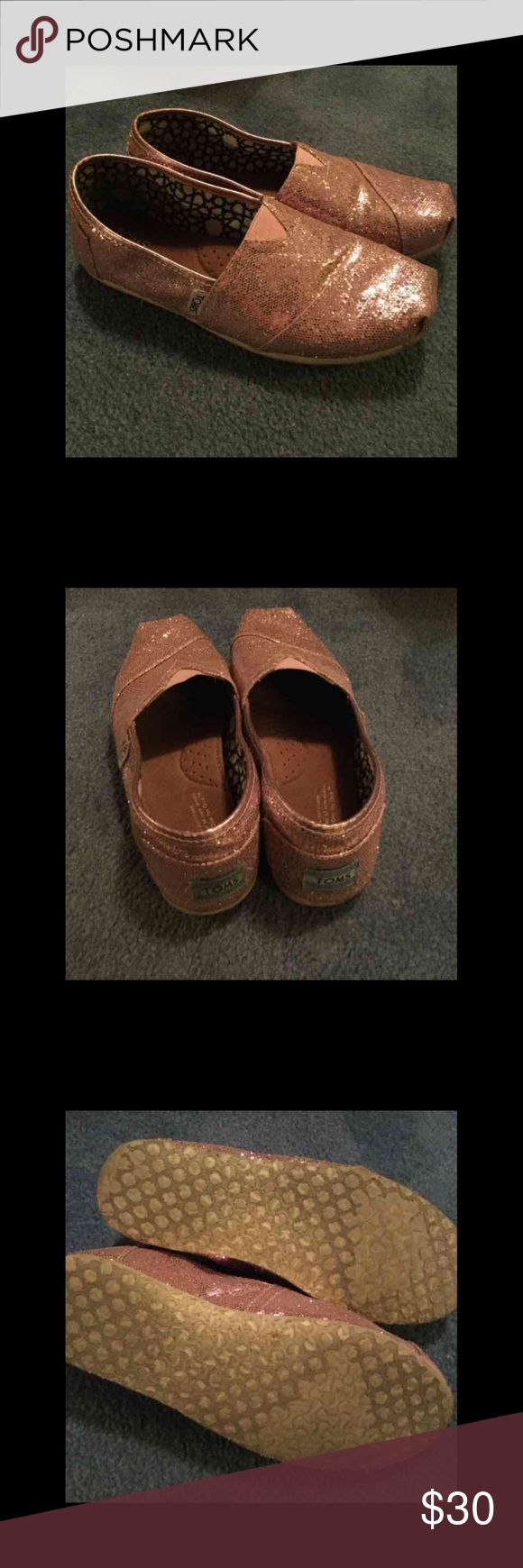 TOMS Pink Glitter Shoes Pink Glitter Toms, Size 7W (BLACK LISTED SEPARATELY). Good used condition - see photos for usage TOMS Shoes Flats & Loafers