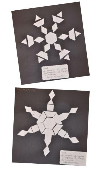 A Place Called Kindergarten: let it snow, let it snow, let it snow. Pattern block die cut snowflakes.