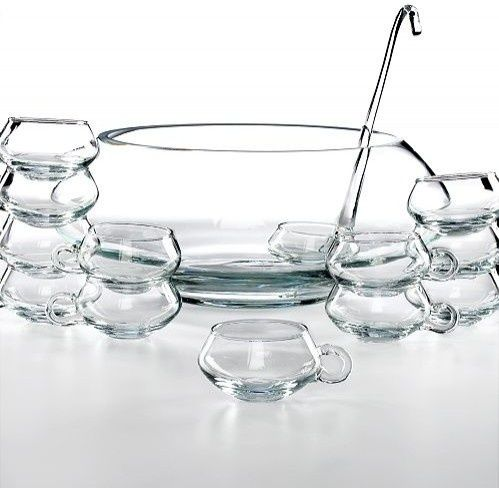 modern punch bowl | Moderno 14 Piece Punch Bowl Set -modern shape and contemporary design.