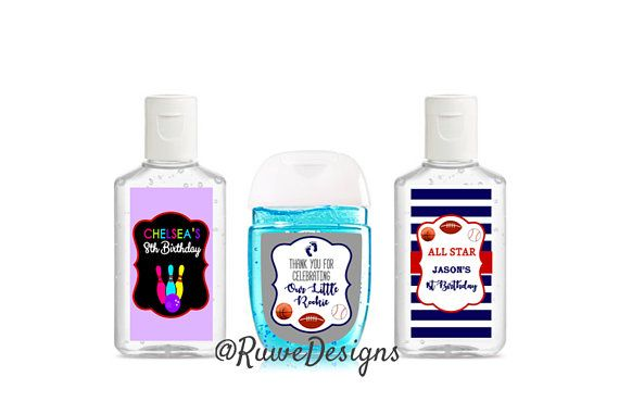Customized Hand Sanitizer Labels For Sports Themed Favors Hand