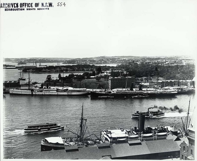 View from the Rocks over Circular Quay, across to Royal Botanic Gardens and Eastern Sydney. Shared by State Records NSW, via Flickr. v@e