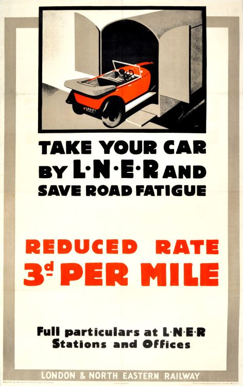 I'm all for avoiding road fatigue. Designed, very pleasingly, by Austin Cooper in 1933 and up for auction on Saturday.