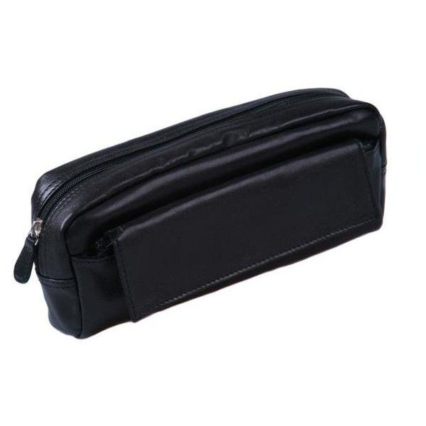 Black Pencil Case ❤ liked on Polyvore featuring home, home decor, office accessories, leather pen case, black leather pencil case, zipper pencil pouch, zip pencil case and black pencil case