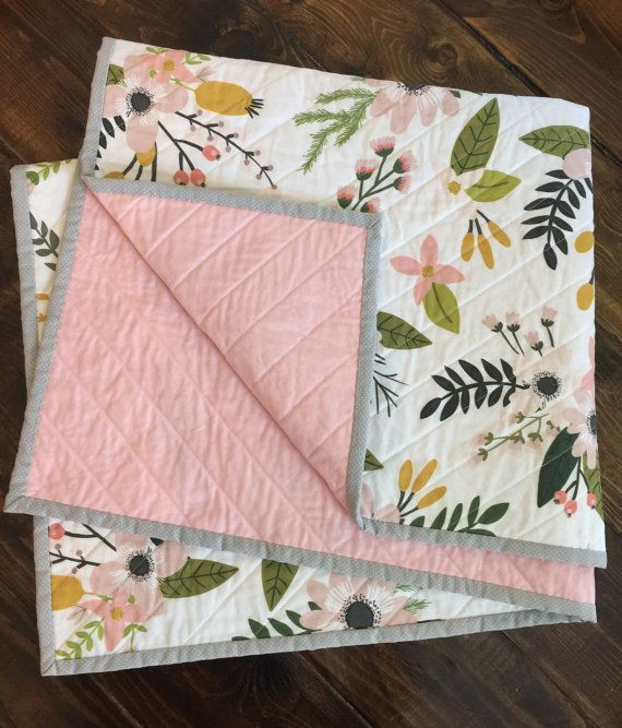 Spring floral modern quilt baby quilt nursery by TheCoralCottage