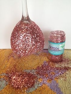 "My Simple Obsessions: DIY Glitter Wine Glasses ""I made these for my bridesmaids, it works best with extra fine glitter and coating the glitter compleltly afterwards (it took me two coats.)"" 