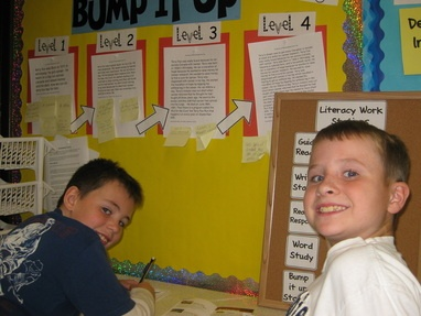 Bump It Up: Similar to a rubric, but is a display.  The class creates exemplars of the lesson focus based on what the expectations at each level of work is for the lesson.  Students take their work over to the Bump It Up wall to see how they can improve and Bump up their work to the next level.