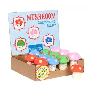 Seedling Cute Mini Mushroom Rubber Eraser Pencil Sharpener School Supplies