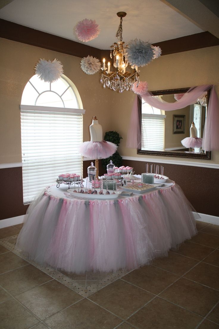 We would love to use tulle like this around the food and maybe gift table as well as maybe hanging from the bar area of kitchen