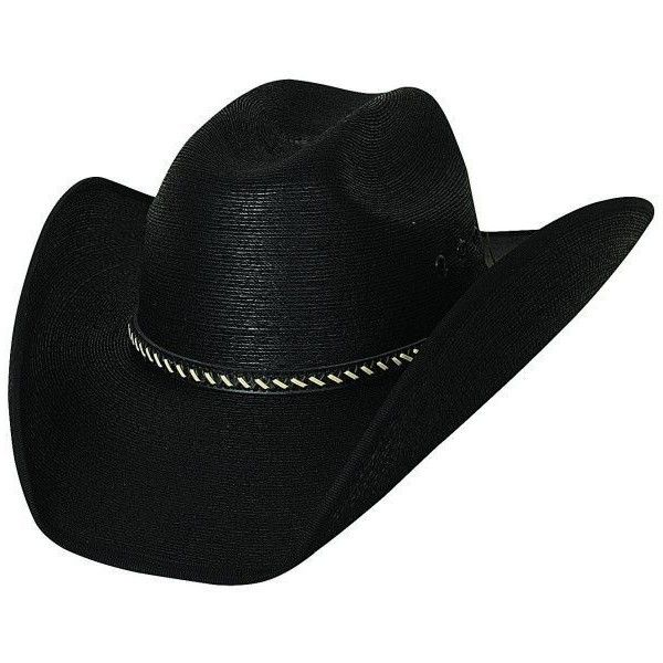 Bullhide Cowboy Strong 30X Mexican Palm Leaf Straw Black Cowboy Hat... ❤ liked on Polyvore featuring accessories, hats, palm frond hat, western straw hats, straw cowboy hats, palm tree hat and cowboy hat