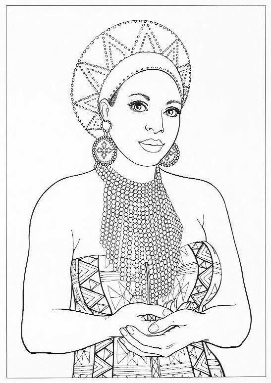 Black Queens Coloring Book African Queen Adult Coloring Page Coloring books Adult