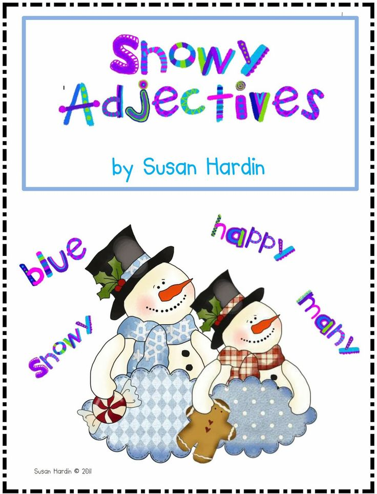 """$ Susan Hardin's Snowy Adjectives.  Great """"Snowball Fight"""" game to practice identifying adjectives, and so much more."""