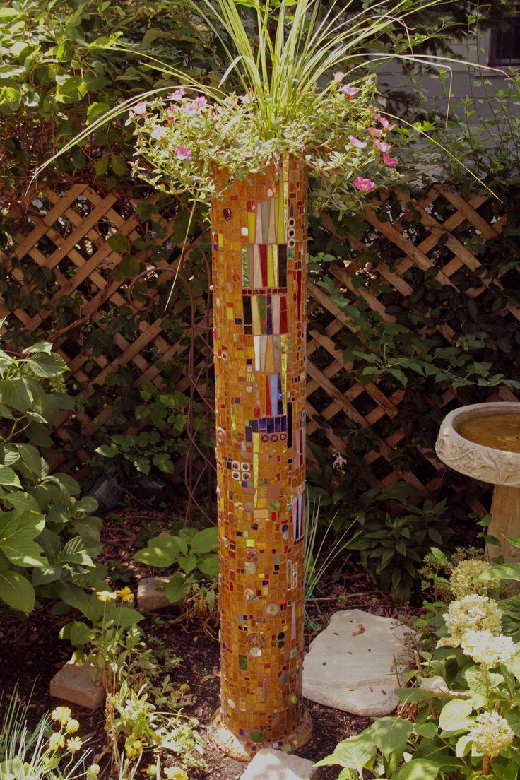 https://flic.kr/p/cKXNho | Clay drain pipe turned mosaic flower pot