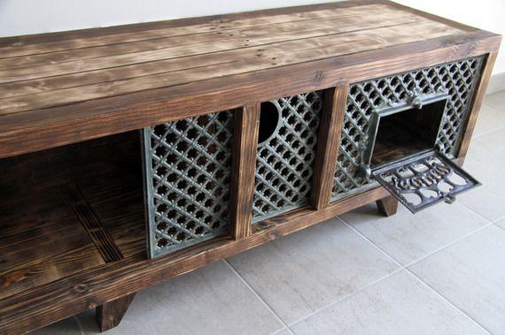 Meuble tv table basse ganesh en bois de palette recycl for Table basse tele