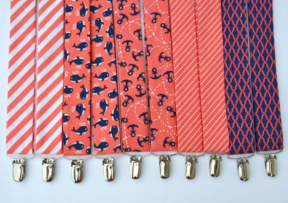 Men's Coral Suspenders Peach and Navy Wedding Suspenders, Nautical Suspenders and Ties find at www.meandmatilda.com