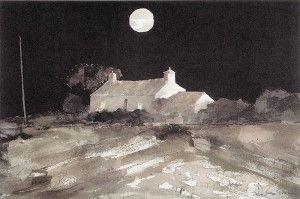 John Knapp Fisher 'Moon over Watch cottage'