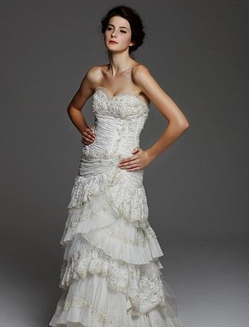 Bridal Gowns: Michelle Roth Sheath Wedding Dress with Sweetheart Neckline and Natural Waist Waistline