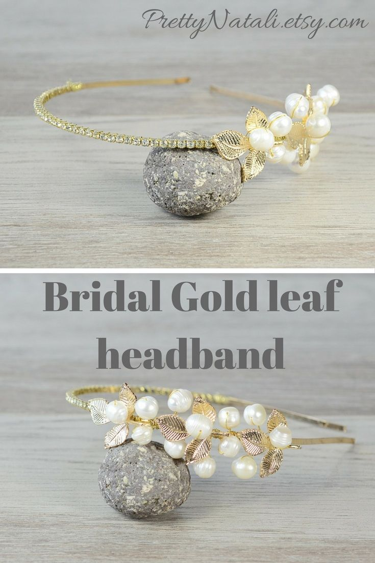 This gold leaf bridal hair crown made from adjustable headband base, golden metal leaves, rhinestones and freshwater pearls. Gold Headpiece, Gold leaf pearl headband, Bridal hair crown, Golden leaf headpiece, Woodland wedding tiara, wedding crown, grecian headband #leafheadband #bridalheadband #greciancrown #bridaltiara