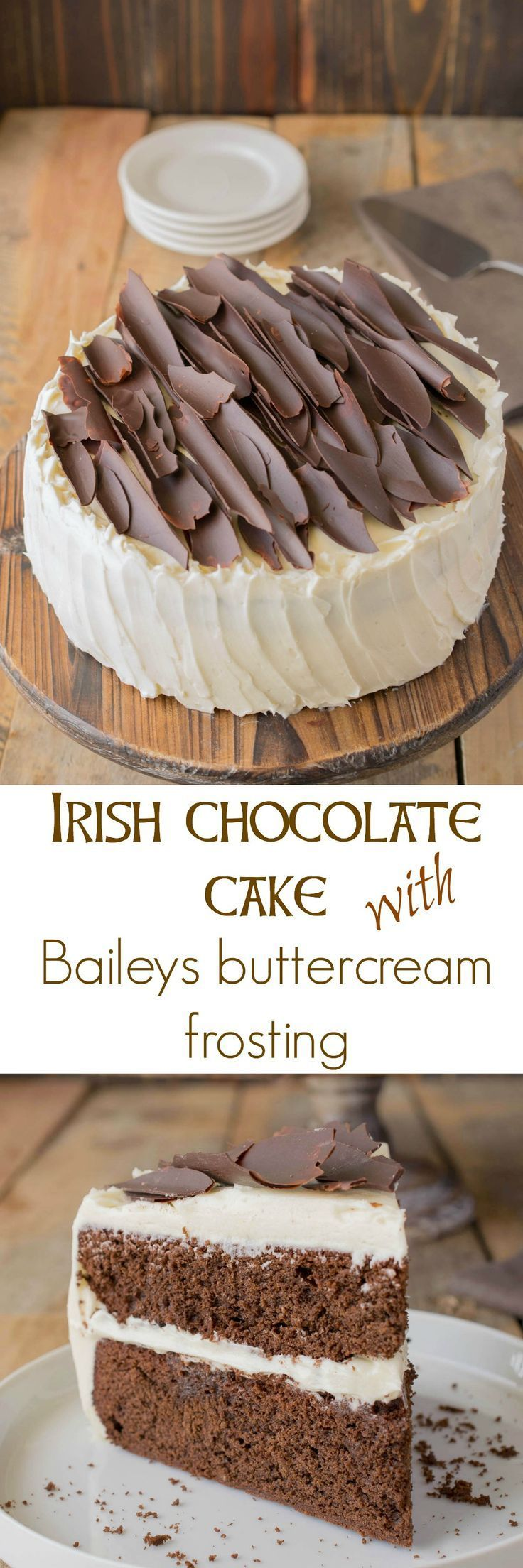 Irish chocolate cake with Baileys buttercream frosting is both decadent and addictive with layers of moist chocolate cake adorned with Baileys buttercream frosting.