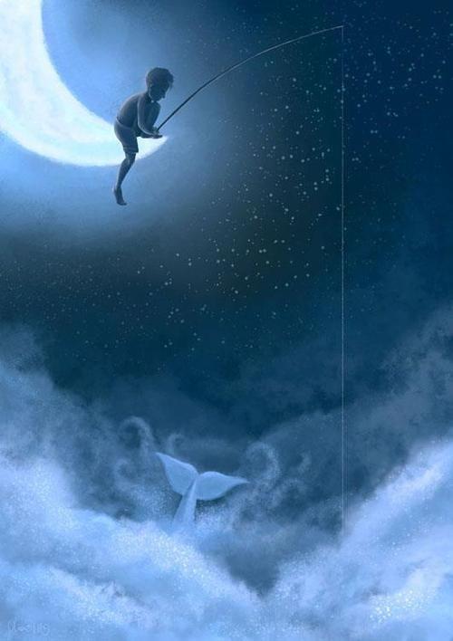 Fishing from the moon... Fantasy