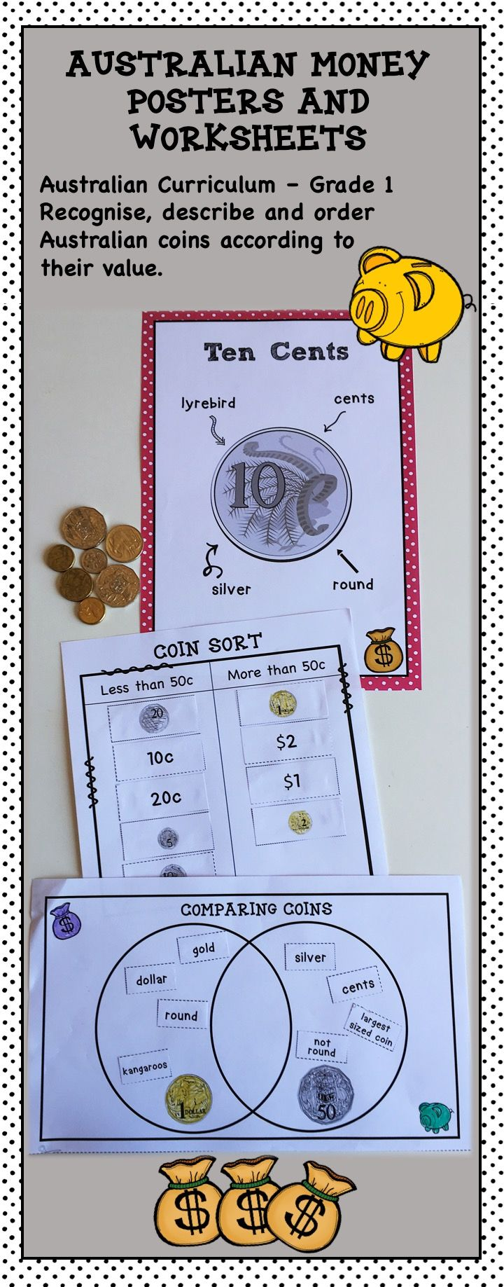 Australian Money Posters and Worksheets Higher Order Thinking HOTS Grade 1 - Fun and engaging worksheets that get students thinking. Students compare and contrast Australian coins and sort money amounts. They are directly related to curriculum documents. The posters display Australian coin features. Check it out here: https://www.teacherspayteachers.com/Product/Australian-Money-Posters-and-Worksheets-Higher-Order-Thinking-HOTS-Grade-1-2578768