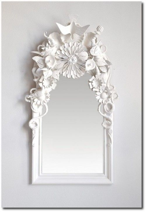Glue-random-small-items-together-spray-paint-all-one-color-and-attach-to-mirror.-Perfect-dollar-store-project-and-would-look-cool-in-a-bright-colour-for- ...