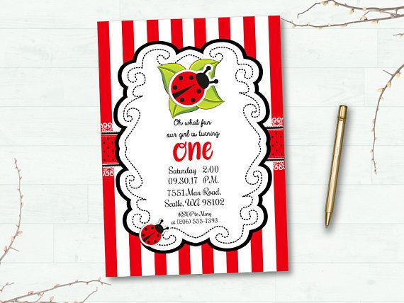 Ladybug Invitation Party Invite Red Black Ladybug Baby