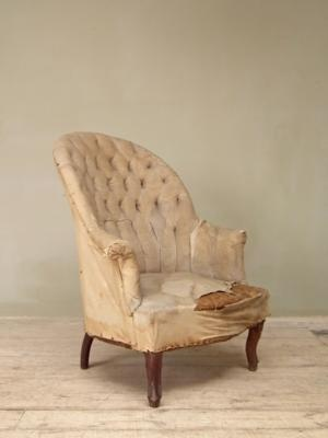 Good quality and hard to find mid 19thc armchair with high deep buttoned back{br}£1200 re-upholstered ex fabric