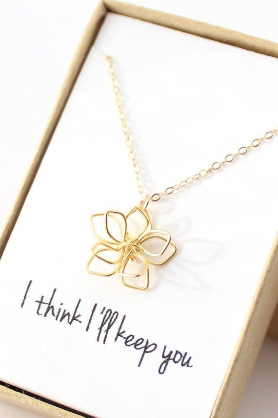 Delicate Gold Flower Necklace  Simple Flower by powderandjade, $30.00