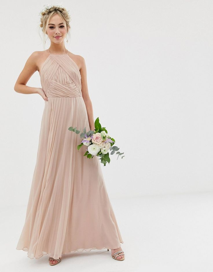 Asos Design Bridesmaid Pinny Maxi Dress With Ruched Bodice Asos Bridesmaid Dress Affordable Bridesmaid Dresses Lace Bridesmaid Dresses