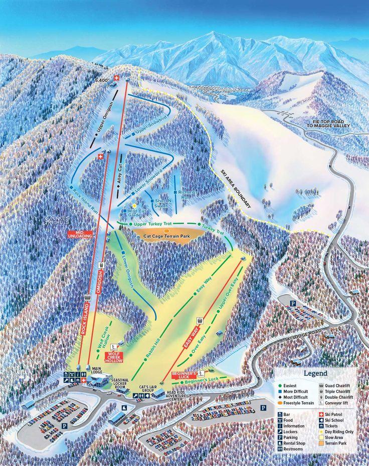 Cataloochee Ski Area Maggie Valley NC Trail Map