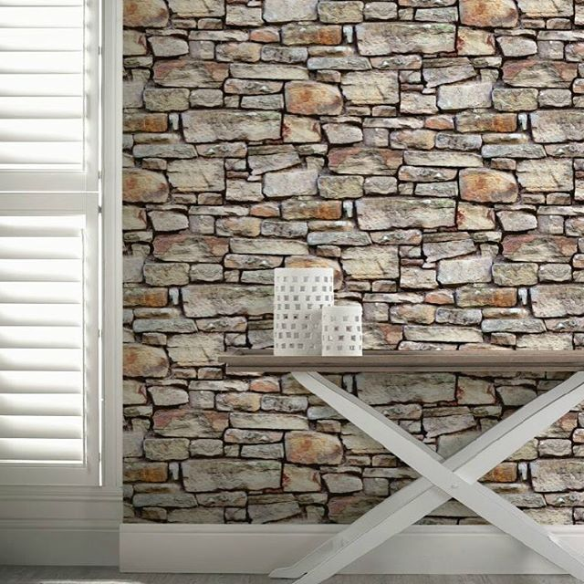 Cornish stone effect wallpaper from B&Q Stone wallpaper