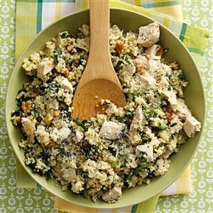 Parmesan Chicken Couscous Recipe -Simple ingredients make clever use of leftover chicken in an innovative dish any home cook would be proud to plate. I like to serve it with a side of fresh fruit. —Lisa Abbott, New Berlin, Wisconsin