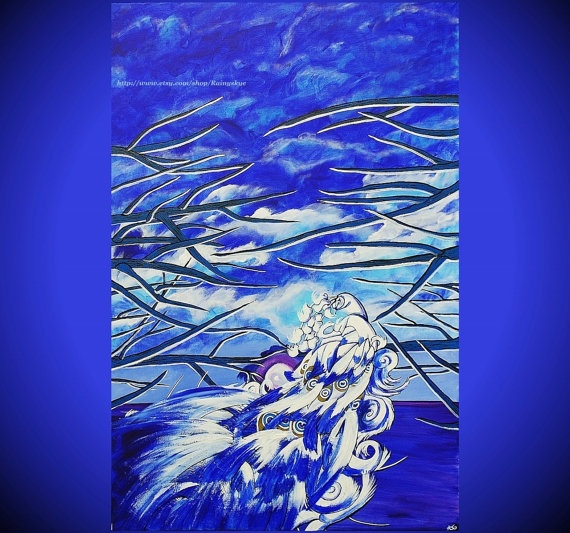 One Blue Night LARGE ORIGINAL Painting 24 x by PaintedRainGallery, $139.00