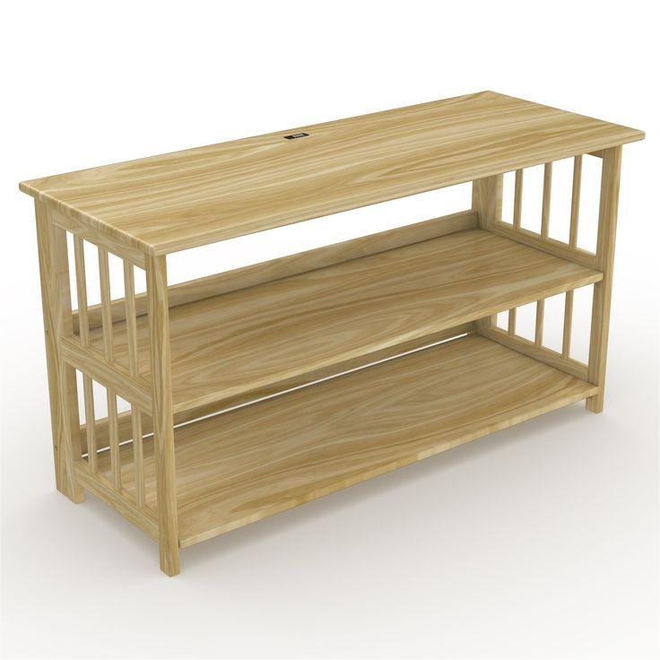 Stony-Edge FTVS-42-NA  42 inch TV Stand, Bookshelf, Media Storage Cabinet with USB Port, Natural Wood