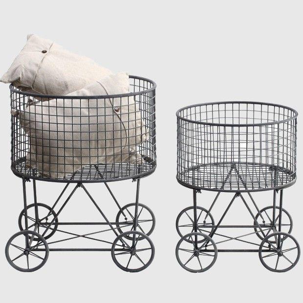 laundry basket on wheels set of 2