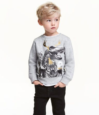 Gray/animal. Soft sweatshirt with a printed design at front and ribbing at neckline, cuffs, and hem. Soft, brushed inside.