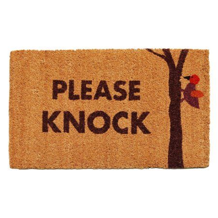 Home & More Please Knock Outdoor Doormat, Brown
