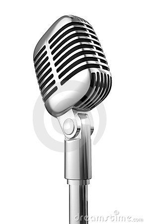 Stock Photo: 50's microphone on white