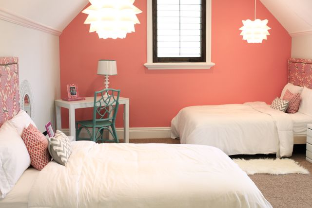 coral, white, caitlin wilson fabric, ikea pendant, love the colors, focal wall, shared space