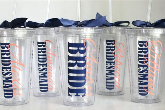 Will you be my bridesmaid? Coral & Navy Wedding, Personalized Tumblers for Bridal Party, Bridesmaid Tumbler,  Set of 4