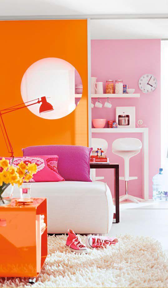 Pittige combinatie met fel oranje, fuchsia, roze en witten