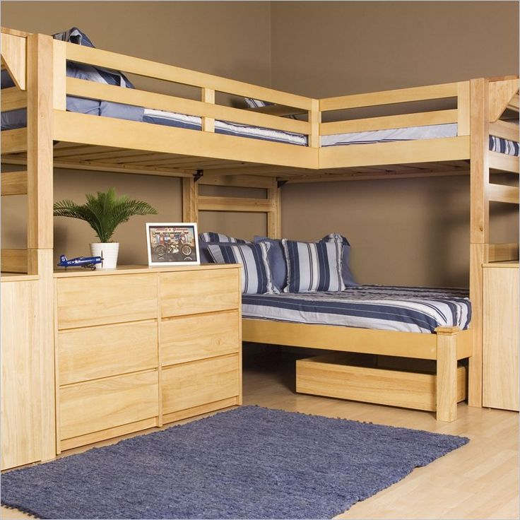 Wooden triple lindy bunk bed plans and designs for children - Interior Design | Interior Design Ideas|Architecture | Furniture | Exterior Design  bunk beds