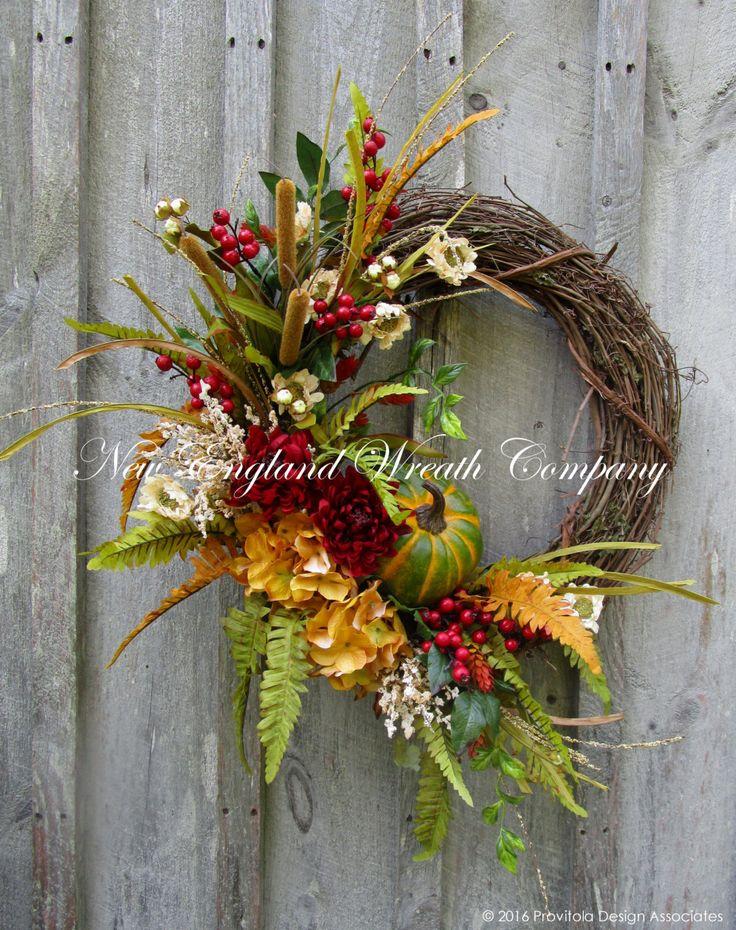Bradford Autumn Garden Wreath  ~A New England Wreath Company Designer Original~
