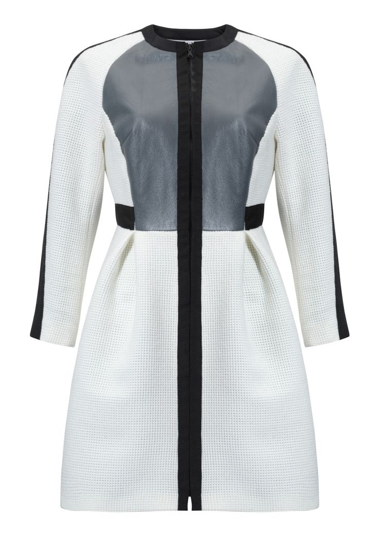 Kosmal, Lucky Me, resort 2016, zipper coat (white, dark grey, black). To download high or low resolution product images view Mondrianista.com (editorial use only).
